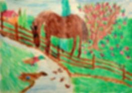 Zeichnung – Pferd und Entenfamilie