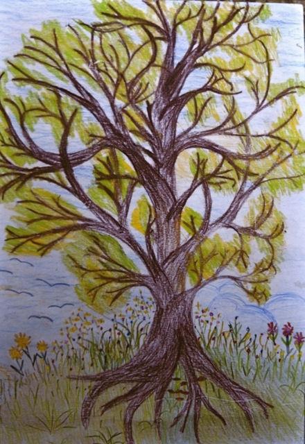 Ein Riese unter den Bäumen – Kinderzeichnung