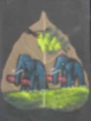 Elefanten, Elefanten! Originelle Kinderzeichnung auf Baumblatt.