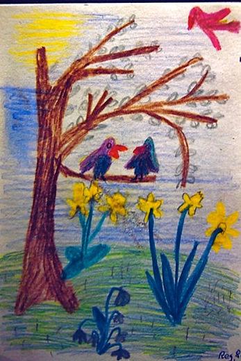 Zwitschernde Vögel im Haselstrauch