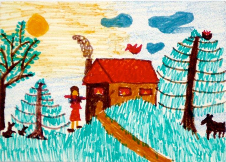 Ich habe mein Haus gezeichnet. Da wohne ich