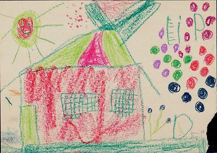 Mein Haus ist rot und grün wie die Sonne – Kinderzeichnung