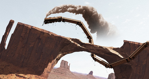 Concepts for The Wild Line project, where a train gets of the rails and start behaving like a snake. Photoshop.
