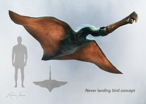 'No point of having legs for a bird that never lands.' This is a concept art for a hypothetical film adaptation of a French sci-fi book. Zbrush, Photoshop.