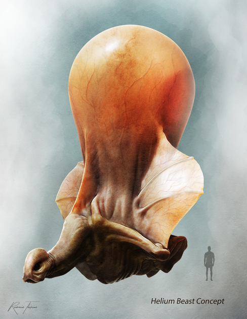 'His single lunge is filled with helium.' This is a concept art for a hypothetical film adaptation of a French sci-fi book. Zbrush, Photoshop.