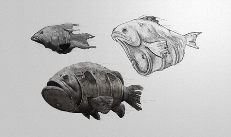 Animal/pollution hybrid concept for my graduation film Hybrids. Pencil, Photoshop.