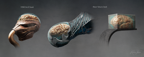 """Concepts for the brain-pilot in Philip K. Dick novel """"Mr Spaceship"""". Part of my concept art training at Double Negative. Zbrush, Photoshop."""