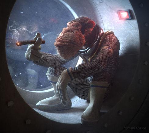 Space Monkey, Zbrush, Arnold.