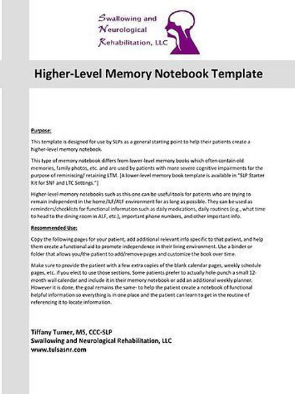 Higher Level Memory Book Template