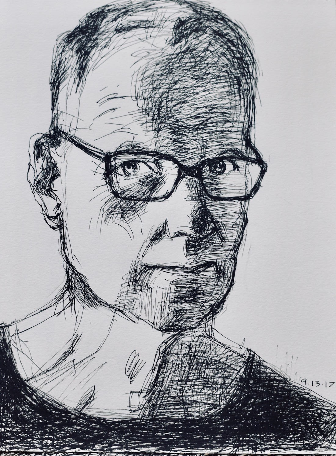 Peter Crow self-portrait #1 ink 12 x 9_ 2017 .jpg