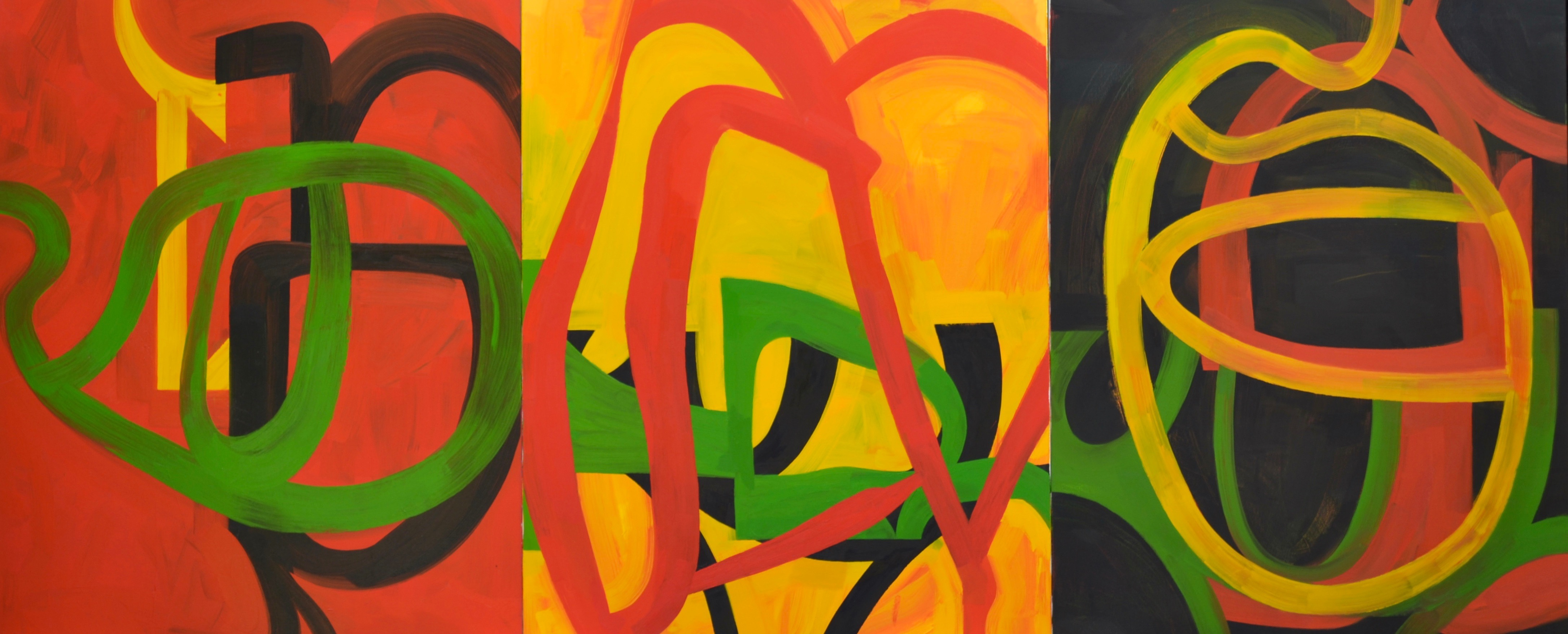 Three and Four Red Yellow & Green Oil on canvas 65 x 160_ 2013.jpg