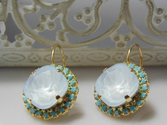 Blue and Gold Swarovski Earrings
