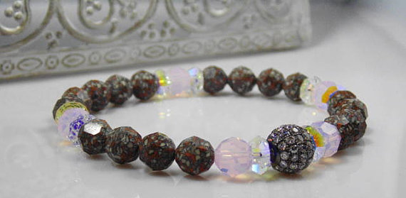 Pink Opal and Swarovski Marble Bracelet