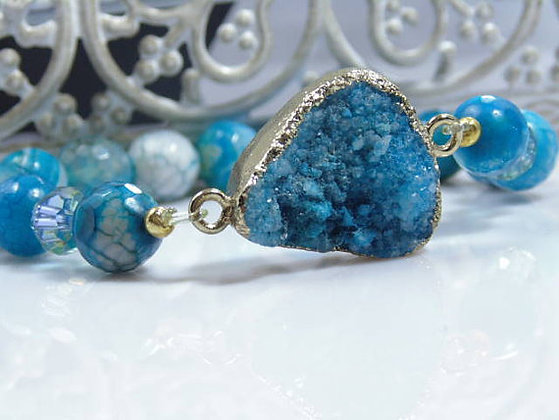 Dark Blue Druzy Agate and Jasper Bracelet