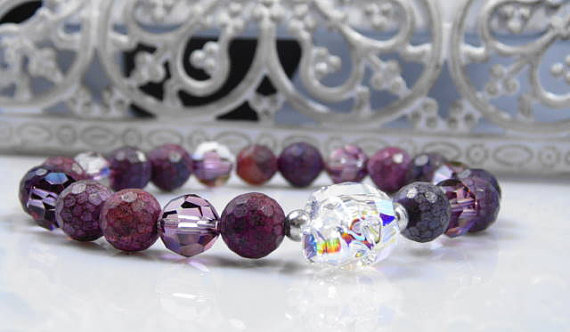 Purple Agate and Swarovski Skull Bracelet