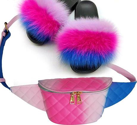 Fur Slippers Fannypack Set