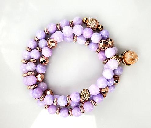 Druzy Charm Jade Wrap Bracelet