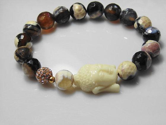 Agate and Buddah Rose Gold Bead Bracelet