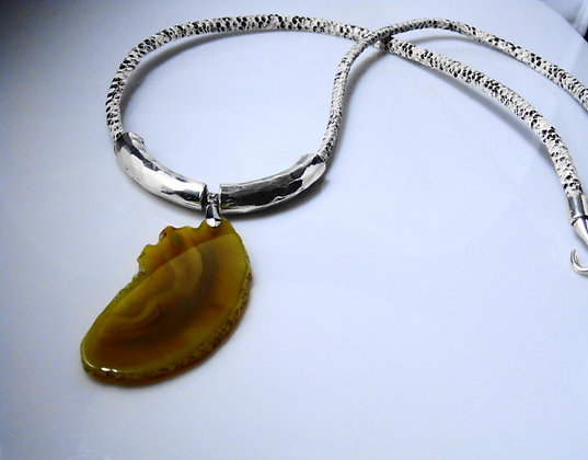 Yellow Agate Silver Necklace