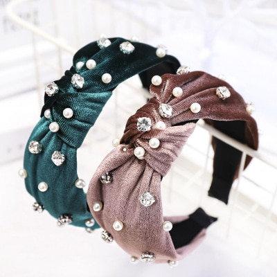 Velvet Crystal Pearl Headband