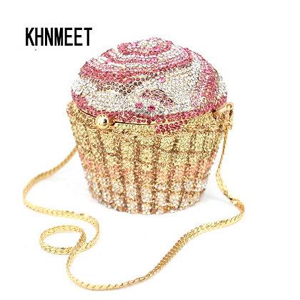 Pink Crystal Cupcake Clutch
