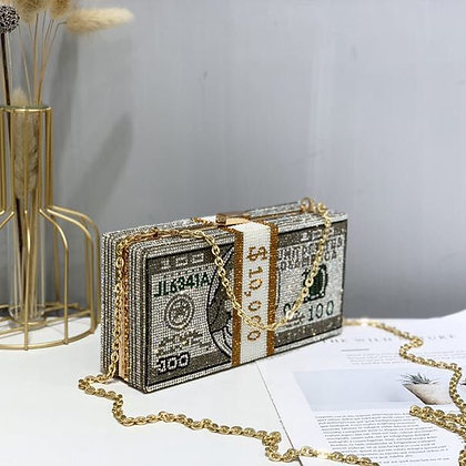 Stack of Cash Crystal Clutch