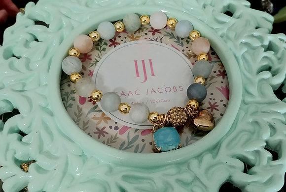 Gold One Bead Morganite Heart & Aqua Charm Bracelet