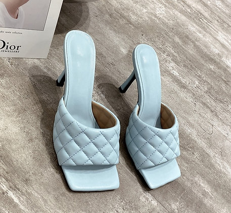 Square Head Peep Toe Thin High Heels Slippers