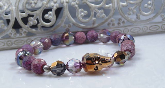 Purple Agate and Rose Gold Swarovski Sugar Skull