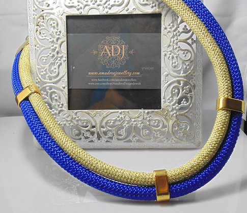 Blue and Gold Cord Bib Necklace