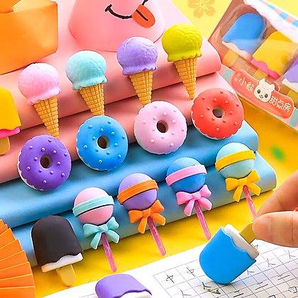 4pc Ice Cream Eraser Set