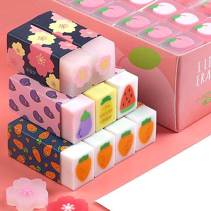6PCS Creative Clover Sakura Carrot Kawaii Rubber Eraser