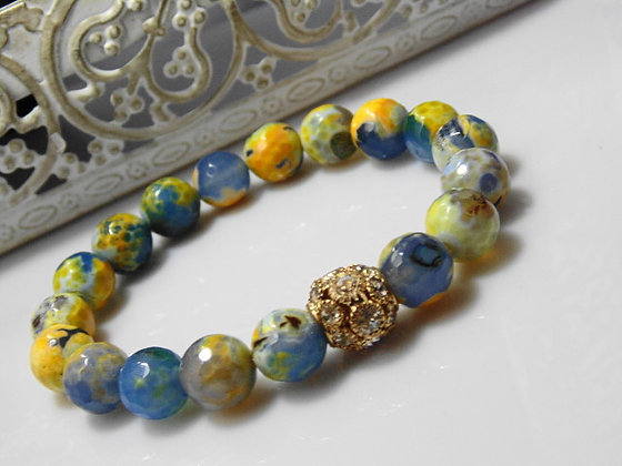 The One Bead Yellow and Blue Bracelet