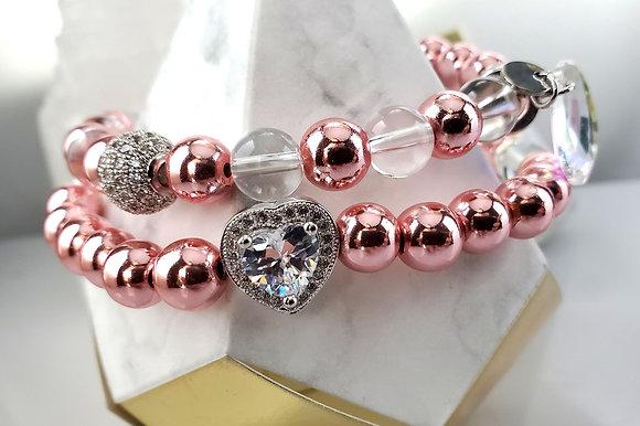 Love Pink Hematite Wrap Bracelet