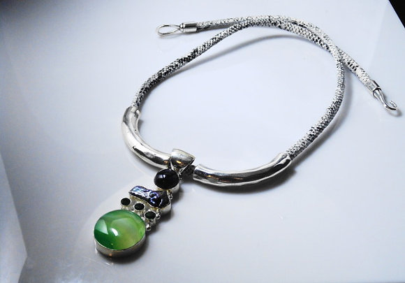 Silver and Reptile Pendant Necklace