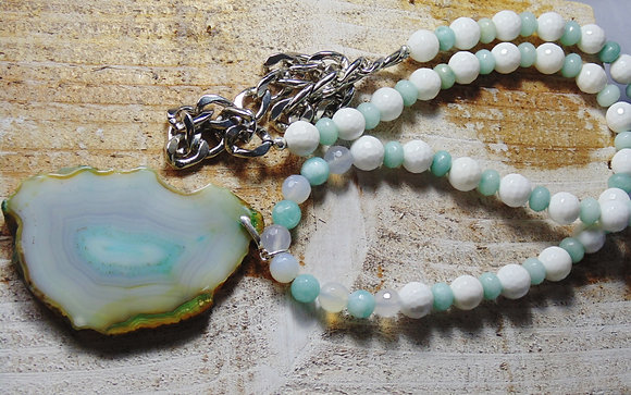 Mint & White Agate Necklace