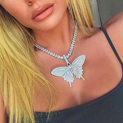 Butterfly Pendant Cuban Link Chain