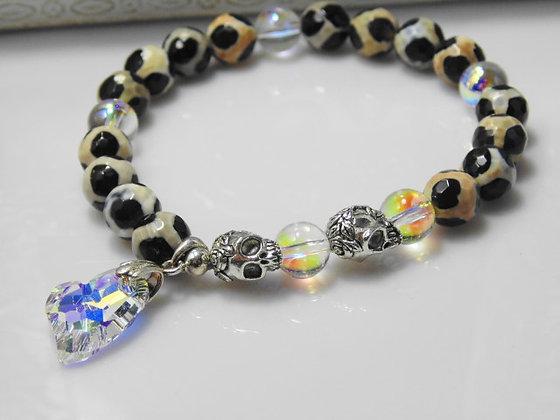 Heart and Skull Agate Bracelet