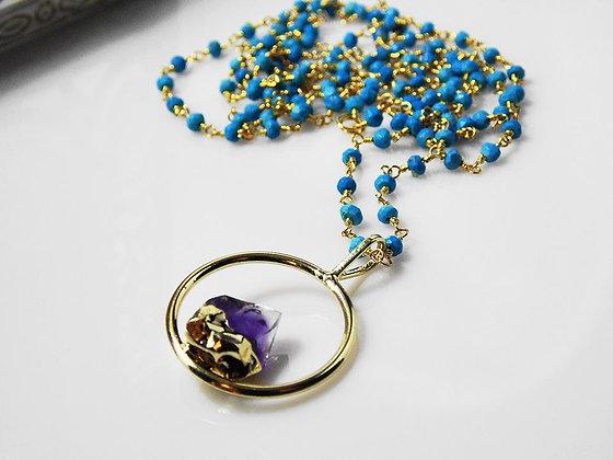 Amethyst Pendant Long Necklace