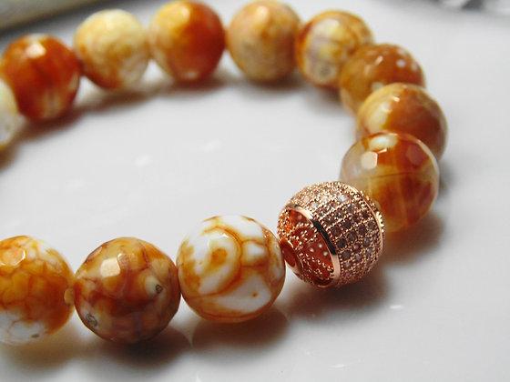 Rose Gold Pave Agate Earth Bracelet