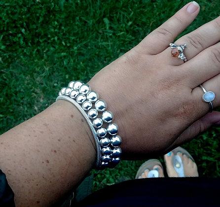 Silver beaded ball bracelet