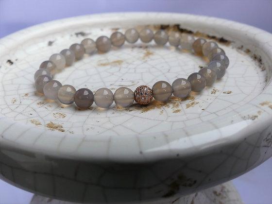 Grey Agate Rose Gold Bracelet