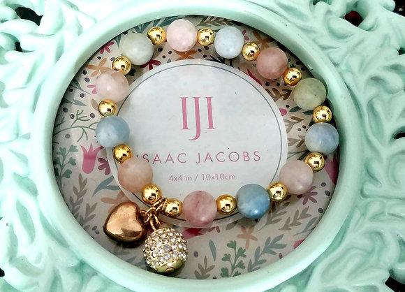 Heart and Ball Morganite Beaded Bracelet