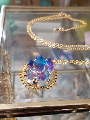 Gold Clockwork Resin Geode Necklace