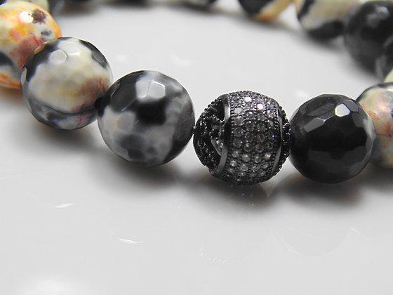 Agate One Bead Black Pave Bracelet