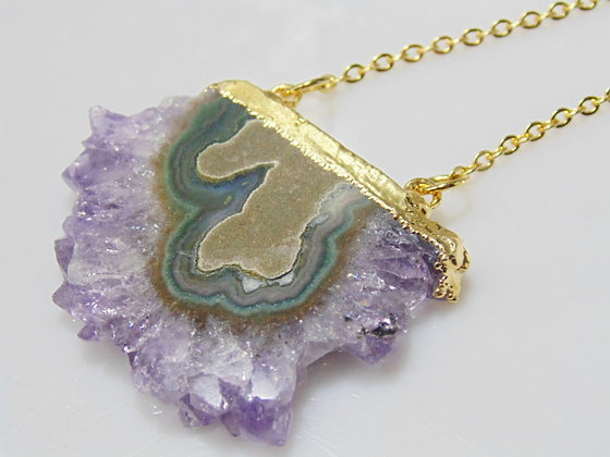 Amethyst Druzy Stalactite Pendant Necklace