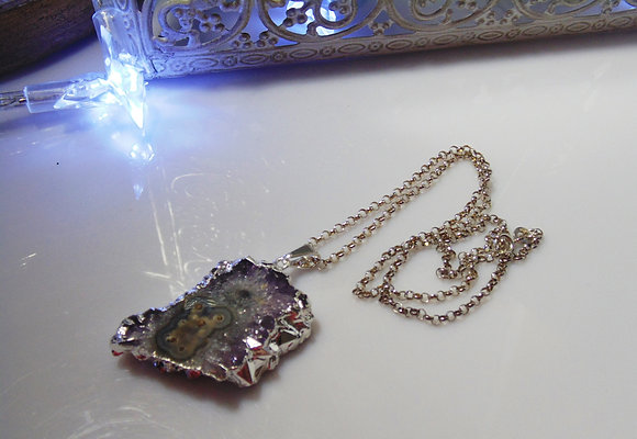 Silver Amethyst Stalactite Necklace