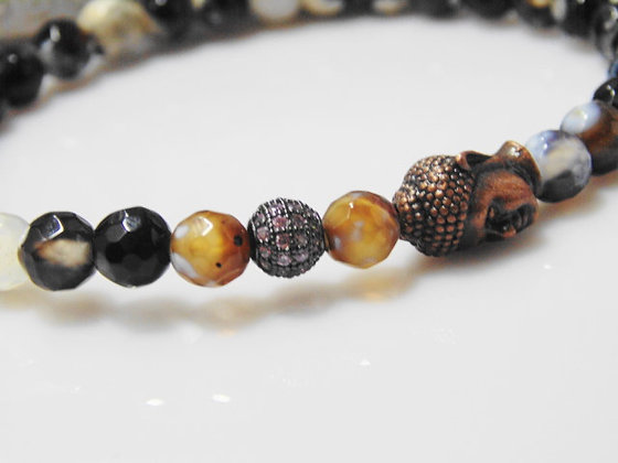 Buddah and Pave Earth Tone Bracelet