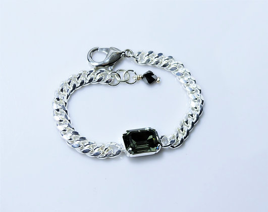 Swarovski Black Diamond Silver Chain Bracelet