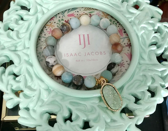 Green Druzy Morganite Charm Bracelet